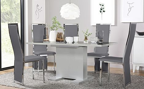 Osaka Grey High Gloss Extending Dining Table with 6 Celeste Grey Leather Chairs