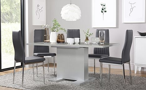 Osaka Light Grey High Gloss Extending Dining Table with 6 Leon Light Grey Leather Chairs