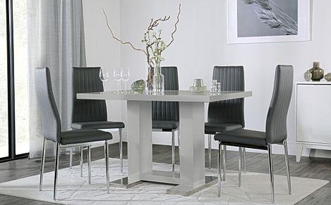 Joule Grey High Gloss Dining Table with 6 Leon Grey Leather Chairs