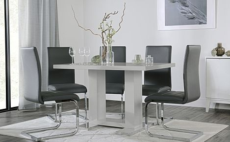 Joule Grey High Gloss Dining Table with 4 Perth Grey Leather Chairs