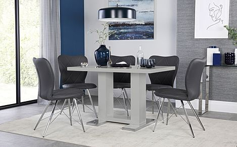 Joule Light Grey High Gloss Dining Table with 6 Lucca Grey Leather Chairs