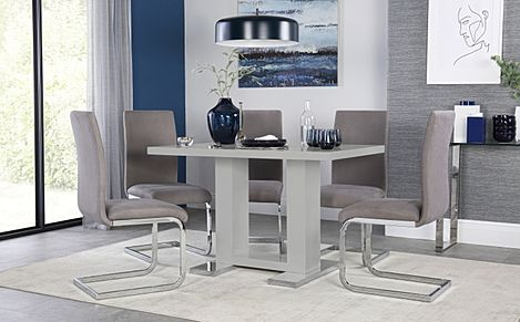 Joule Grey High Gloss Dining Table with 4 Perth Grey Velvet Chairs