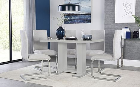 Joule Grey High Gloss Dining Table with 6 Perth Dove Grey Fabric Chairs