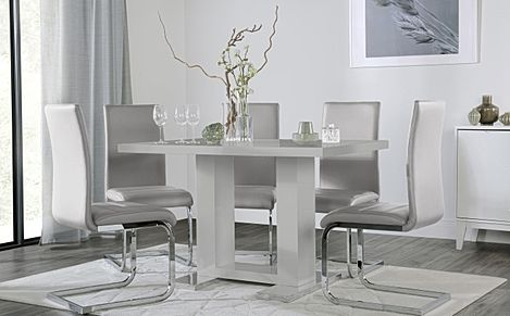 Joule Grey High Gloss Dining Table with 6 Perth Light Grey Leather Chairs