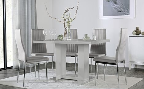 Joule Grey High Gloss Dining Table with 4 Leon Light Grey Leather Chairs