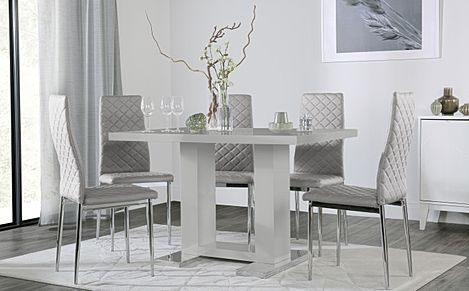 Joule Grey High Gloss Dining Table with 6 Renzo Light Grey Leather Chairs
