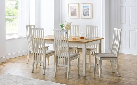Lindale Ivory and Oak Dining Table with 6 Kent Chairs (Ivory Faux Suede Seat Pad)