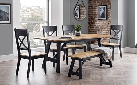 Emerson Black and Oak Dining Table and 2 Benches