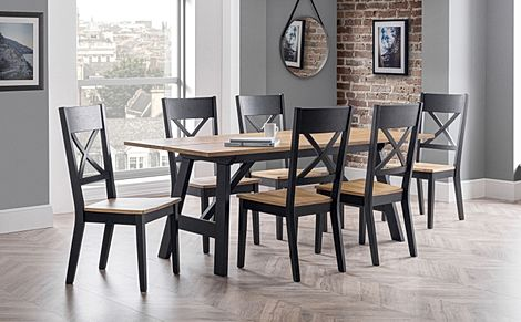 Emerson Black and Oak Dining Table with 4 Emerson Chairs