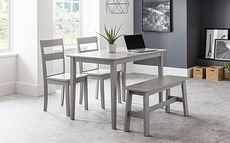 Weston Grey Dining Table and Bench with 2 Weston Chairs
