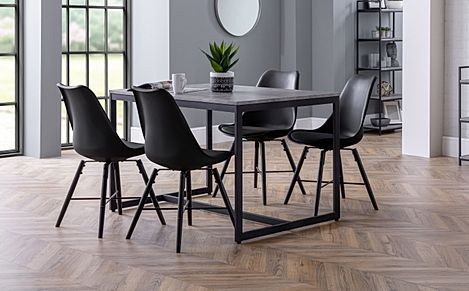 Thorpe Metal and Concrete Industrial Dining Table with 4 Aston Black Leather Chairs