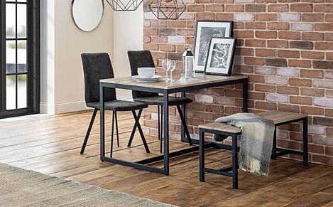 Newton Metal and Oak Industrial Dining Table and Bench with 2 Hayes Charcoal Grey Suede Chairs