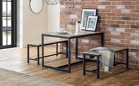 Newton Metal and Oak Industrial Dining Table and 2 Benches