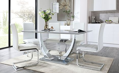 Peake Grey High Gloss and Chrome Dining Table with 6 Perth White Leather Chairs