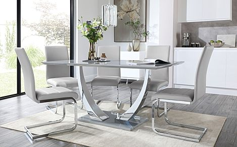 Peake Grey High Gloss and Chrome Dining Table with 6 Perth Light Grey Leather Chairs