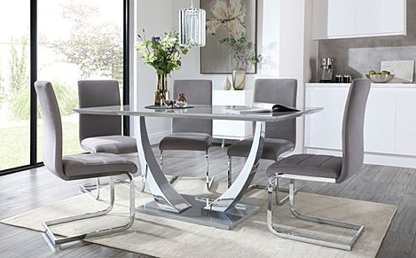 Peake Grey High Gloss and Chrome Dining Table with 6 Perth Grey Velvet Chairs