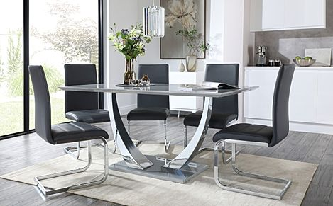 Peake Grey High Gloss and Chrome Dining Table with 6 Perth Grey Leather Chairs