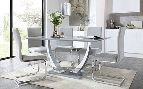 Peake Grey High Gloss and Chrome Dining Table with 6 Perth Dove Grey Fabric Chairs