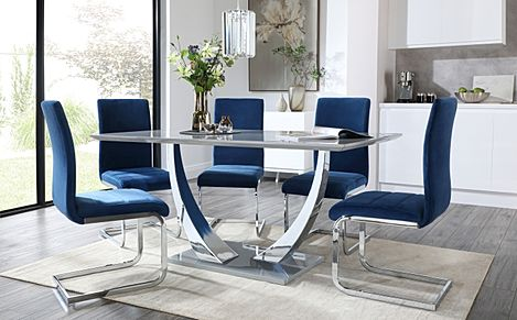 Peake Grey High Gloss and Chrome Dining Table with 6 Perth Blue Velvet Chairs