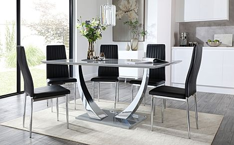 Peake Grey High Gloss and Chrome Dining Table with 6 Leon Black Leather Chairs