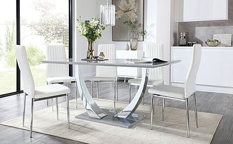 Peake Grey High Gloss and Chrome Dining Table with 6 Leon White Leather Chairs