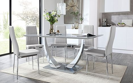 Peake Grey High Gloss and Chrome Dining Table with 6 Leon Light Grey Leather Chairs