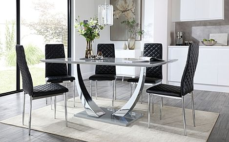 Peake Grey High Gloss and Chrome Dining Table with 6 Renzo Black Leather Chairs