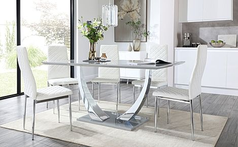 Peake Grey High Gloss and Chrome Dining Table with 6 Renzo White Leather Chairs