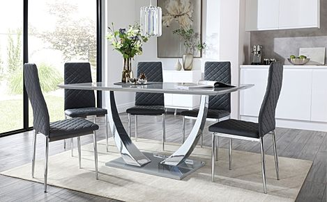 Peake Grey High Gloss and Chrome Dining Table with 6 Renzo Grey Leather Chairs
