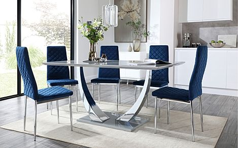 Peake Grey High Gloss and Chrome Dining Table with 6 Renzo Blue Velvet Chairs