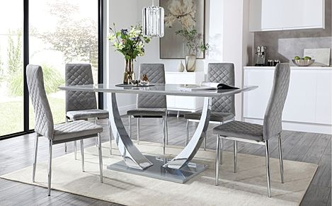 Peake Grey High Gloss and Chrome Dining Table with 6 Renzo Grey Velvet Chairs