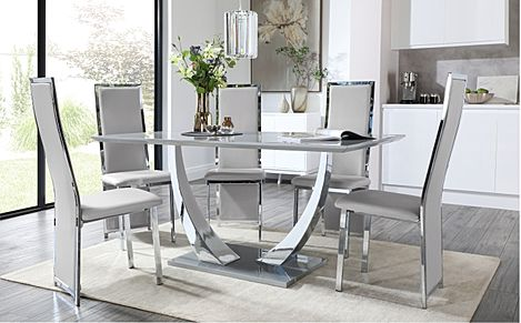 Peake Grey High Gloss and Chrome Dining Table with 6 Celeste Light Grey Leather Chairs