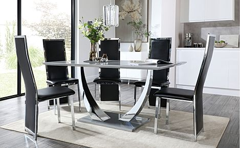 Peake Grey High Gloss and Chrome Dining Table with 4 Celeste Black Leather and Chrome Chairs