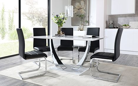 Peake White High Gloss and Chrome Dining Table with 6 Perth Black Leather Chairs