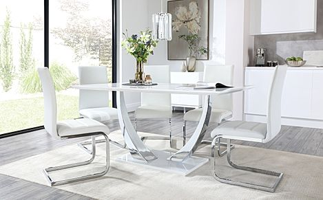 Peake White High Gloss and Chrome Dining Table with 4 Perth White Leather Chairs