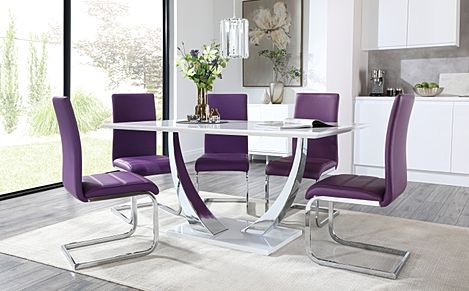 Peake White High Gloss and Chrome Dining Table with 6 Perth Purple Leather Chairs