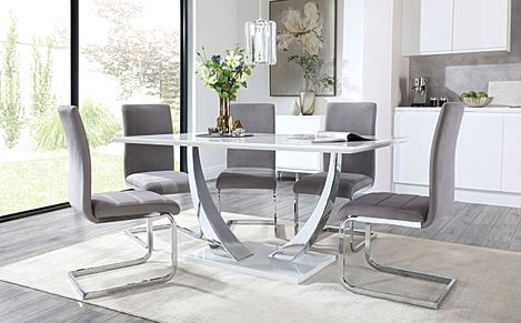 Peake White High Gloss and Chrome Dining Table with 4 Perth Grey Velvet Chairs