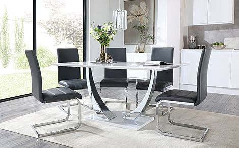 Peake White High Gloss and Chrome Dining Table with 6 Perth Grey Leather Chairs