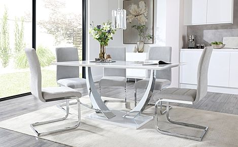 Peake White High Gloss and Chrome Dining Table with 6 Perth Dove Grey Fabric Chairs