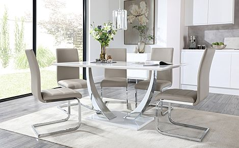 Peake White High Gloss and Chrome Dining Table with 4 Perth Stone Grey Leather Chairs