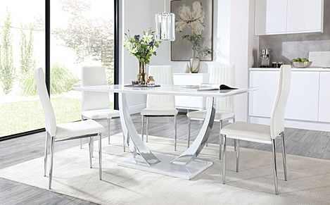 Peake White High Gloss and Chrome Dining Table with 4 Leon White Leather Chairs