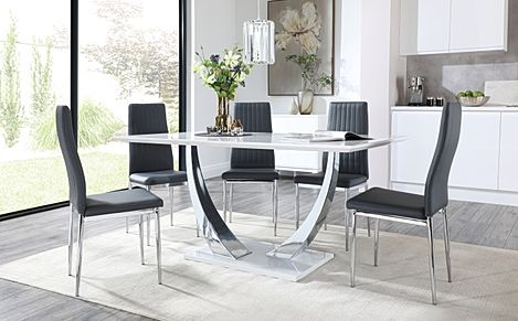Peake White High Gloss and Chrome Dining Table with 4 Leon Grey Leather Chairs