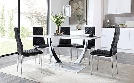Peake White High Gloss and Chrome Dining Table with 6 Renzo Black Leather Chairs