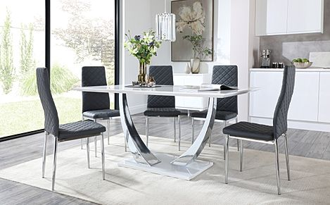 Peake White High Gloss and Chrome Dining Table with 6 Renzo Grey Leather Chairs
