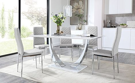 Peake White High Gloss and Chrome Dining Table with 4 Renzo Light Grey Leather Chairs