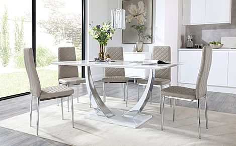 Peake White High Gloss and Chrome Dining Table with 6 Renzo Taupe Leather Chairs