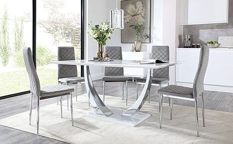 Peake White High Gloss and Chrome Dining Table with 4 Renzo Grey Velvet Chairs