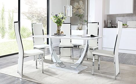 Peake White High Gloss and Chrome Dining Table with 6 Celeste White Leather and Chrome Chairs