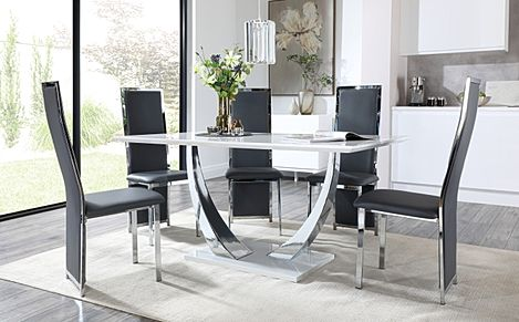 Peake White High Gloss and Chrome Dining Table with 4 Celeste Grey Leather and Chrome Chairs