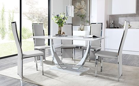 Peake White High Gloss and Chrome Dining Table with 6 Celeste Light Grey Leather Chairs